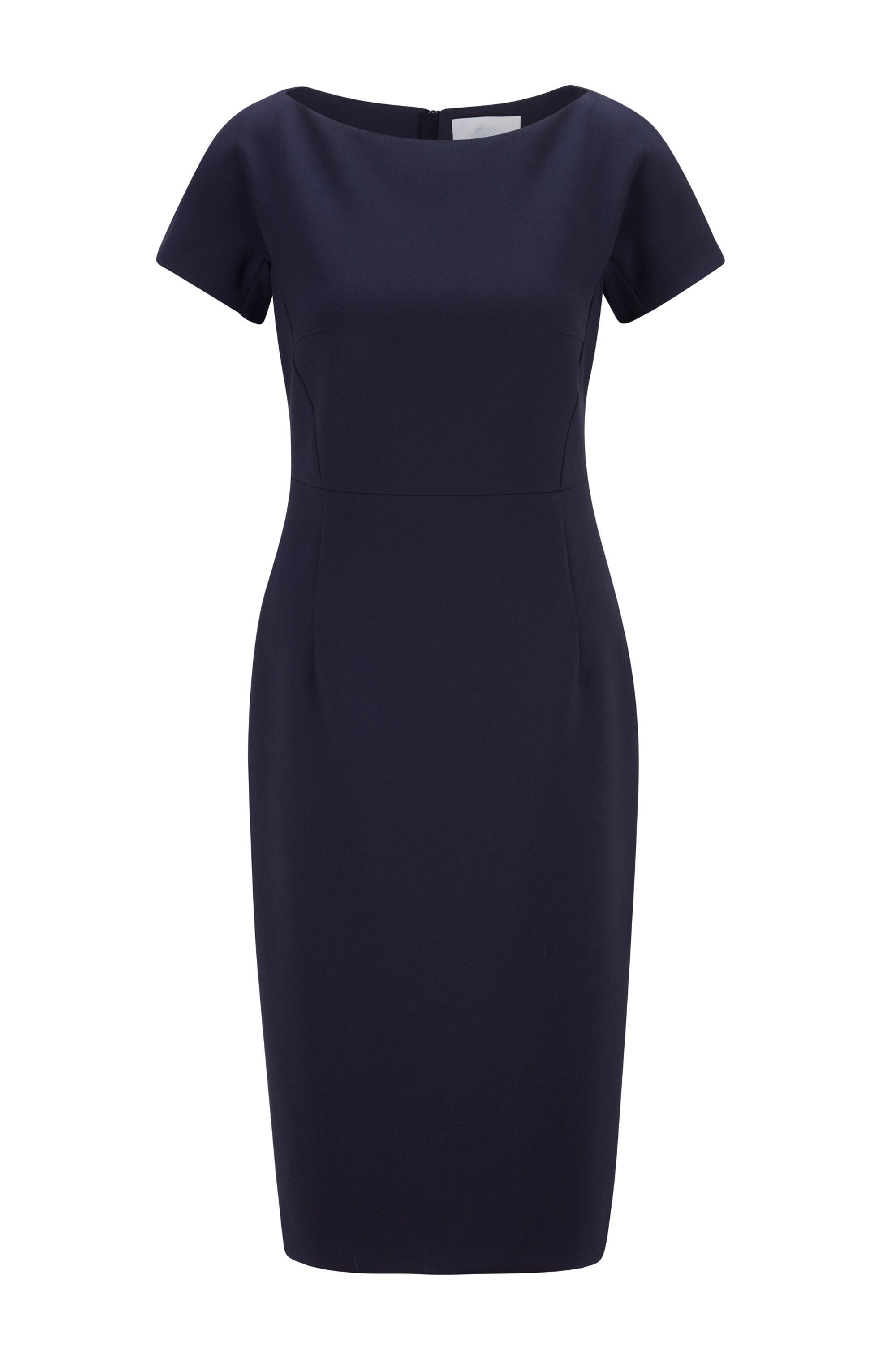 Wide-neck shift dress with exposed centre-back zip, Light Blue