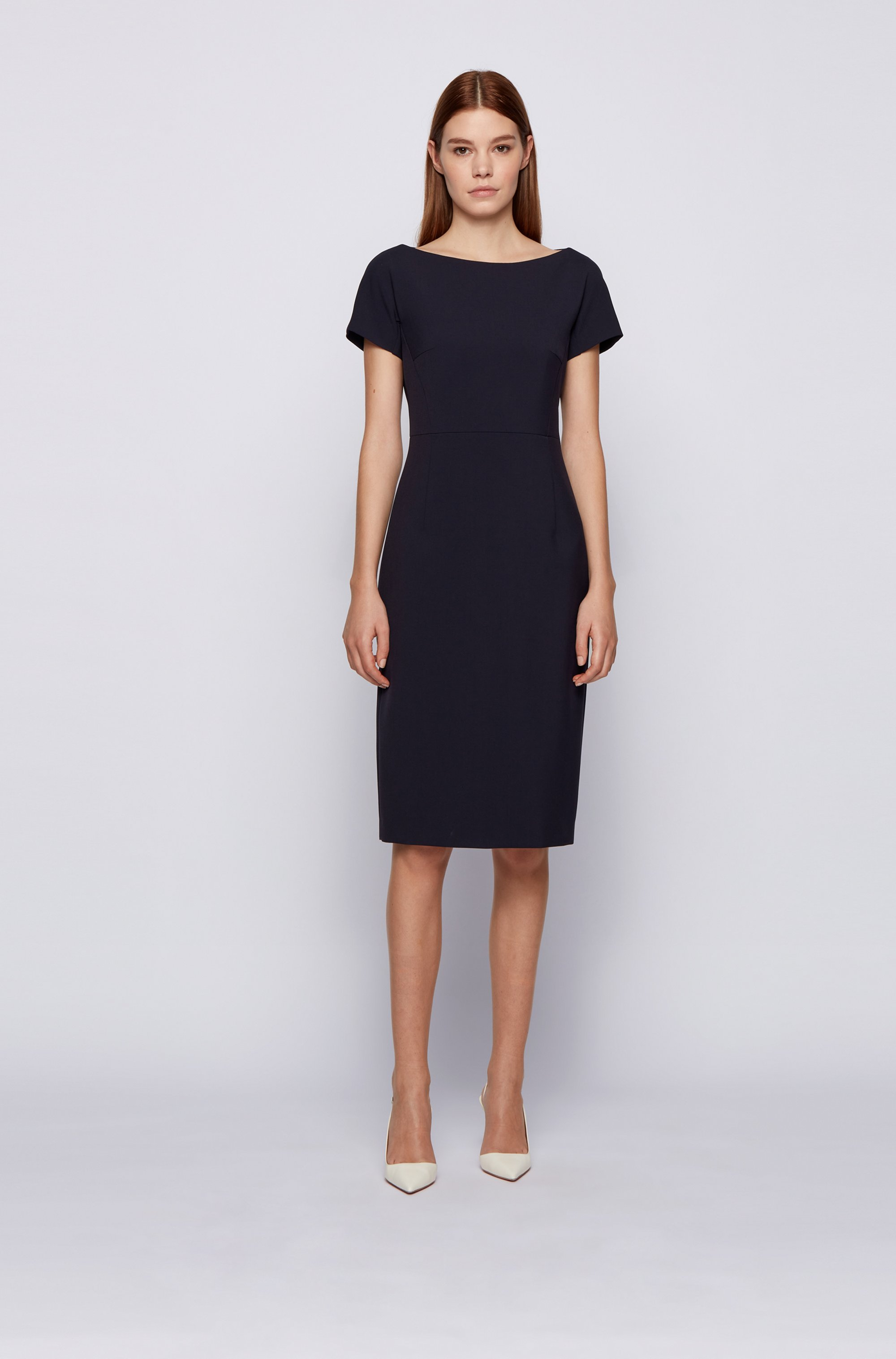 Wide-neck shift dress with exposed centre-back zip