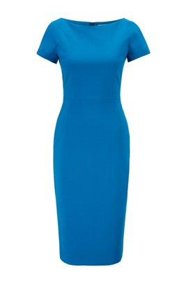 Wide-neck shift dress with exposed centre-back zip, Blue