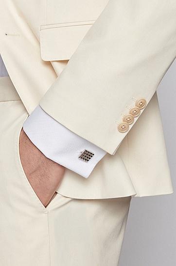 金字塔形图案方形黄铜袖扣,  040_Silver
