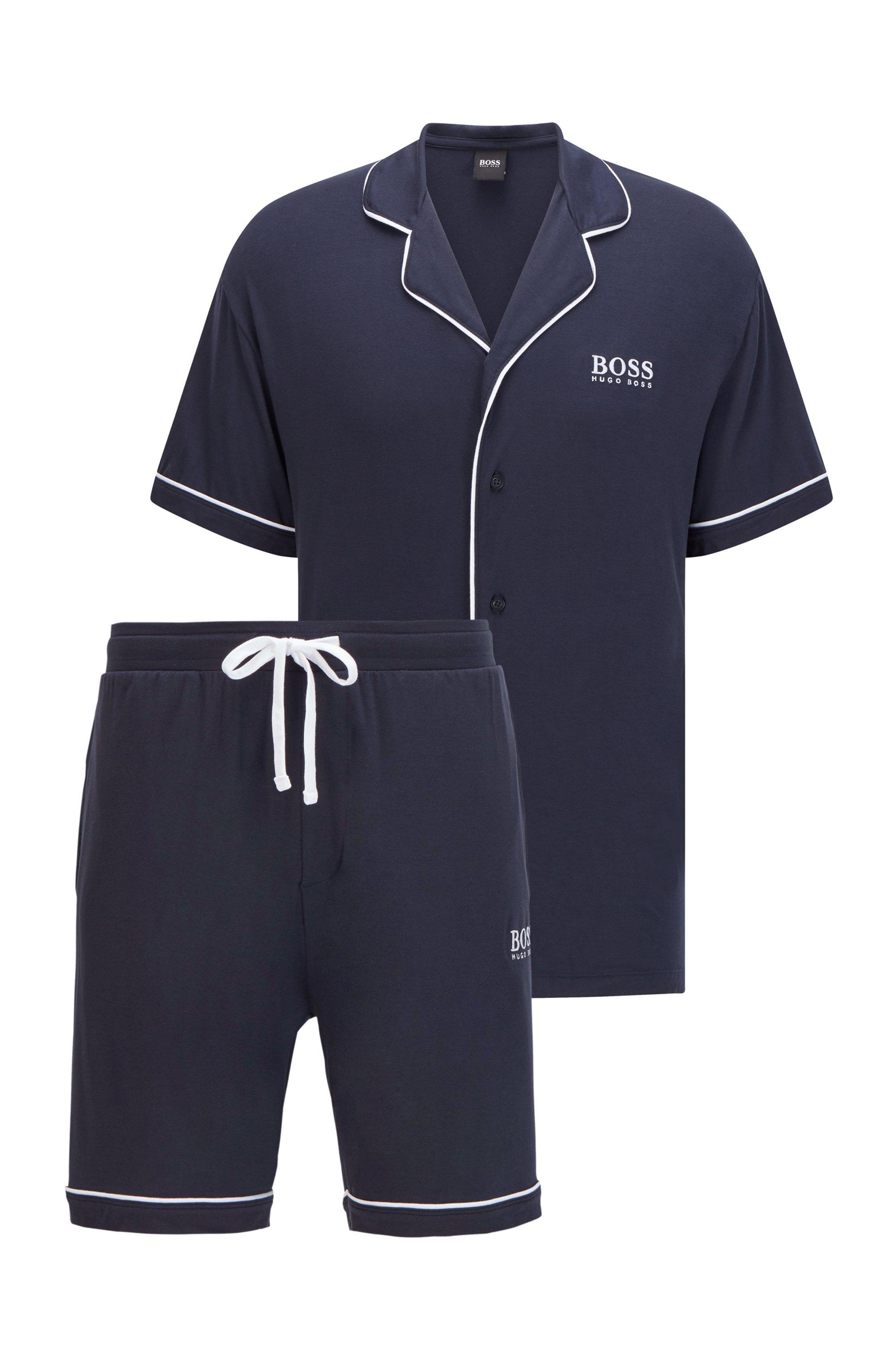 Logo pyjama set with contrast piping, Dark Blue