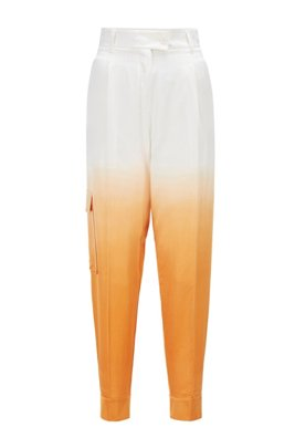 Dégradé relaxed-fit cargo trousers in cotton and silk, Patterned