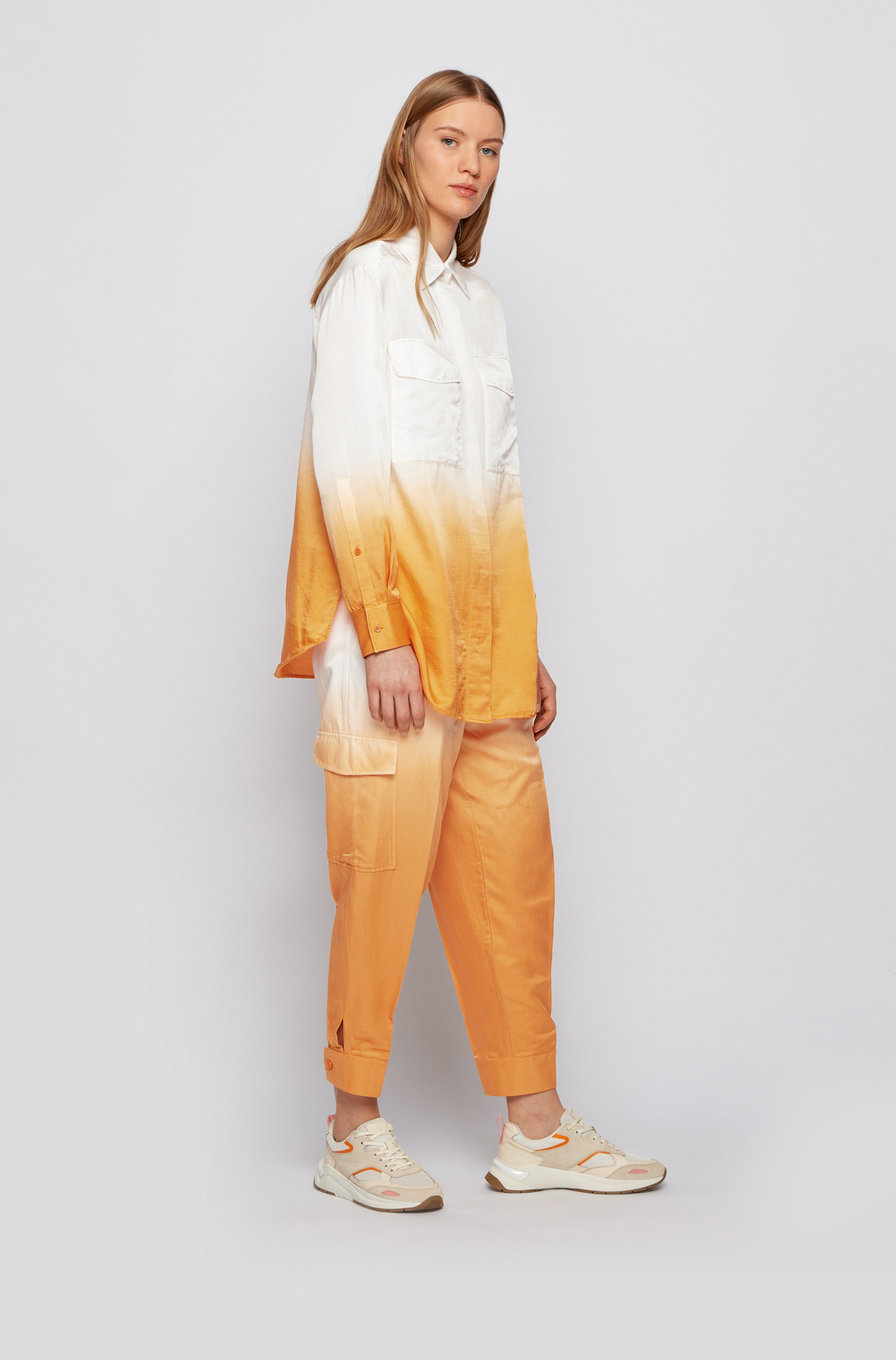 Dégradé relaxed-fit cargo trousers in cotton and silk