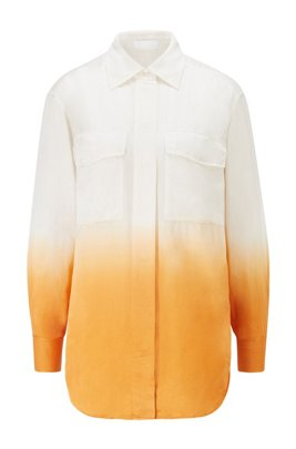 Dip-dye blouse in cotton with silk, Patterned
