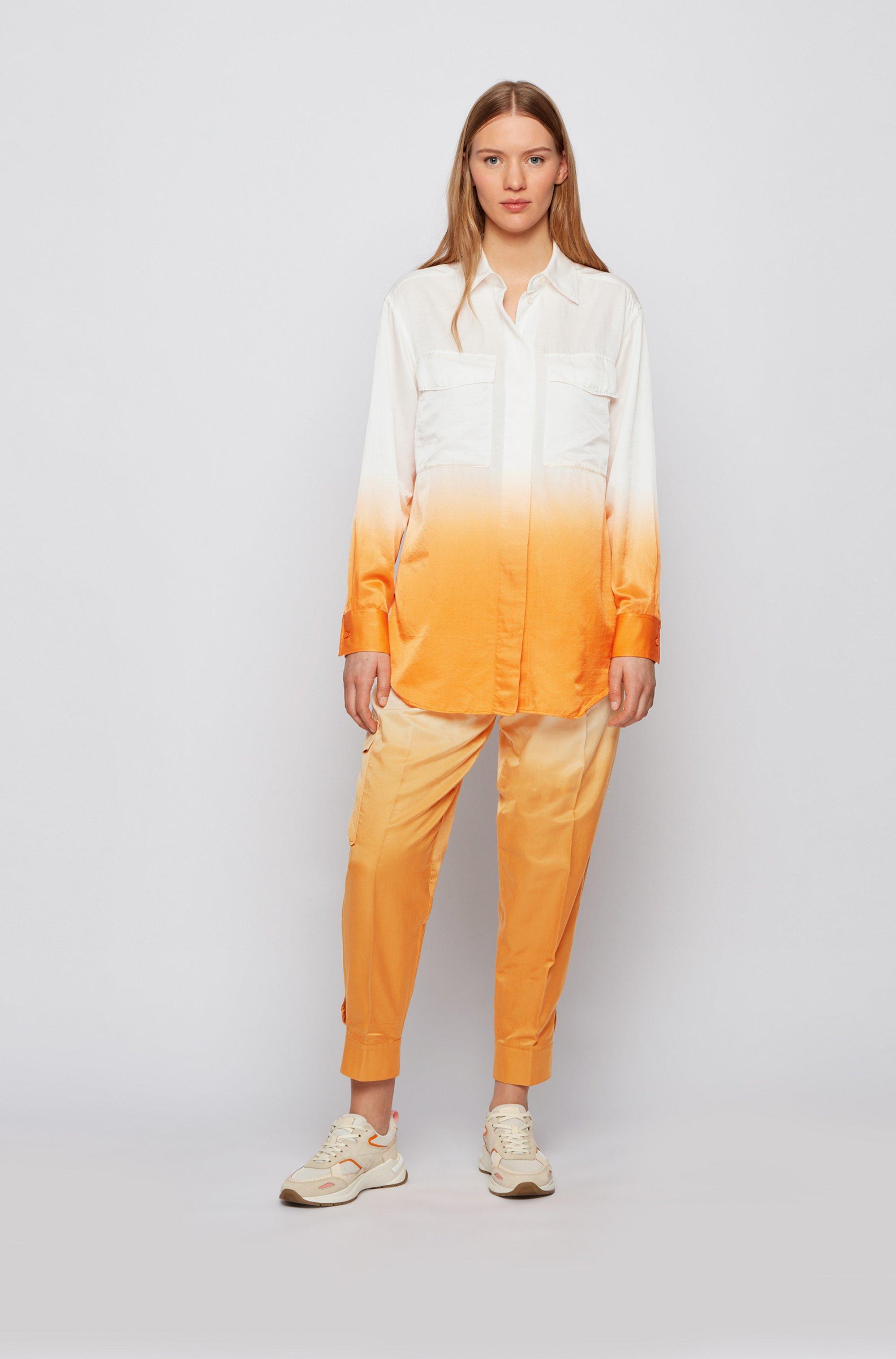 Dip-Dye-Bluse aus Baumwolle mit Seide