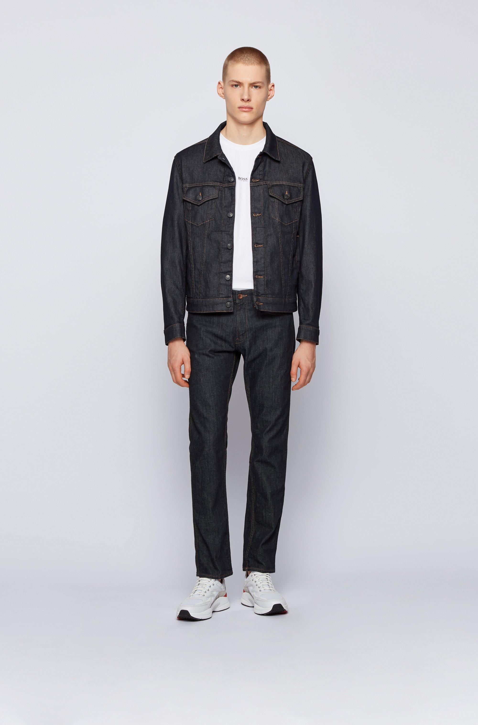 Dark-blue jean jacket in stretch denim