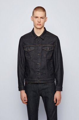 Dark-blue jean jacket in stretch denim, Dark Blue