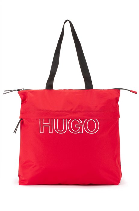 Packable recycled-nylon shopper bag with logo, Red