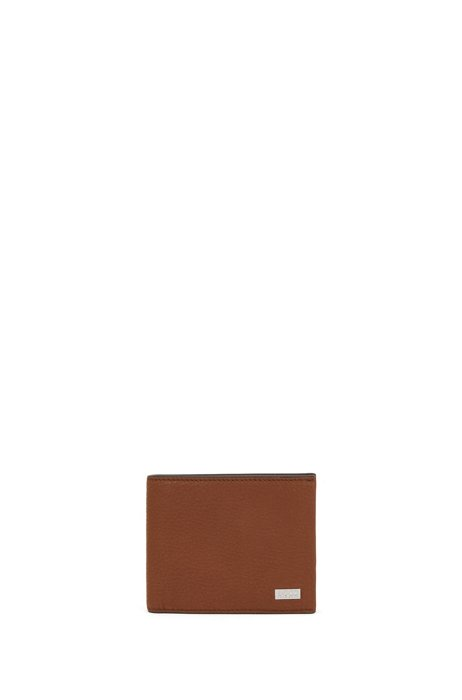 Trifold wallet in Italian leather with logo plate, Light Brown