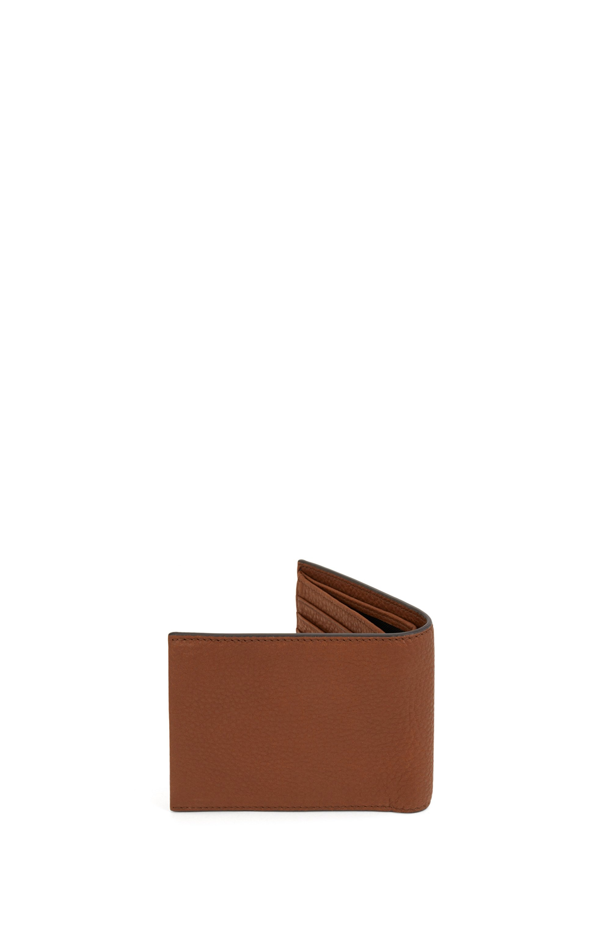 Trifold wallet in Italian leather with logo plate