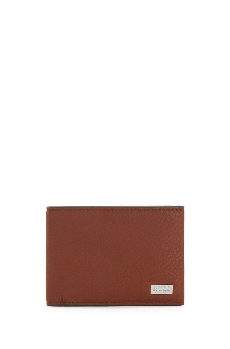 Italian-leather billfold wallet with logo plate, Light Brown