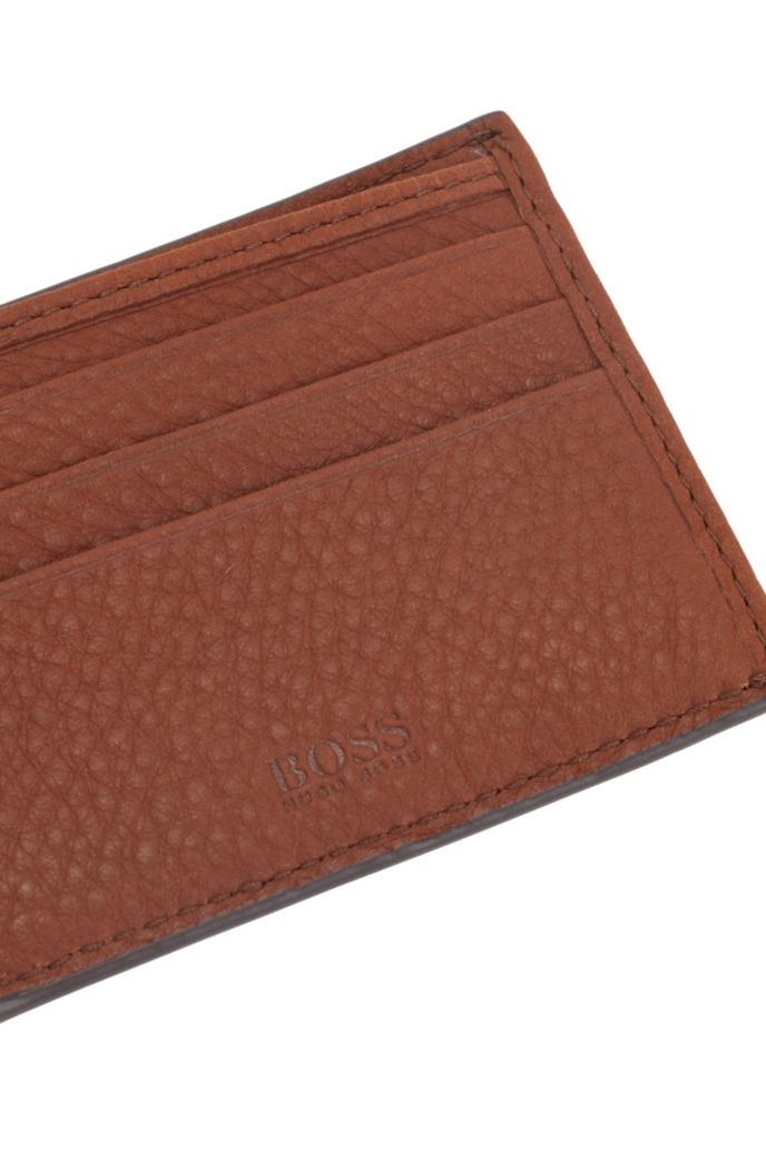 Italian-leather billfold wallet with logo plate