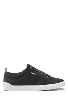 Padded nylon trainers with contrast logo, Black