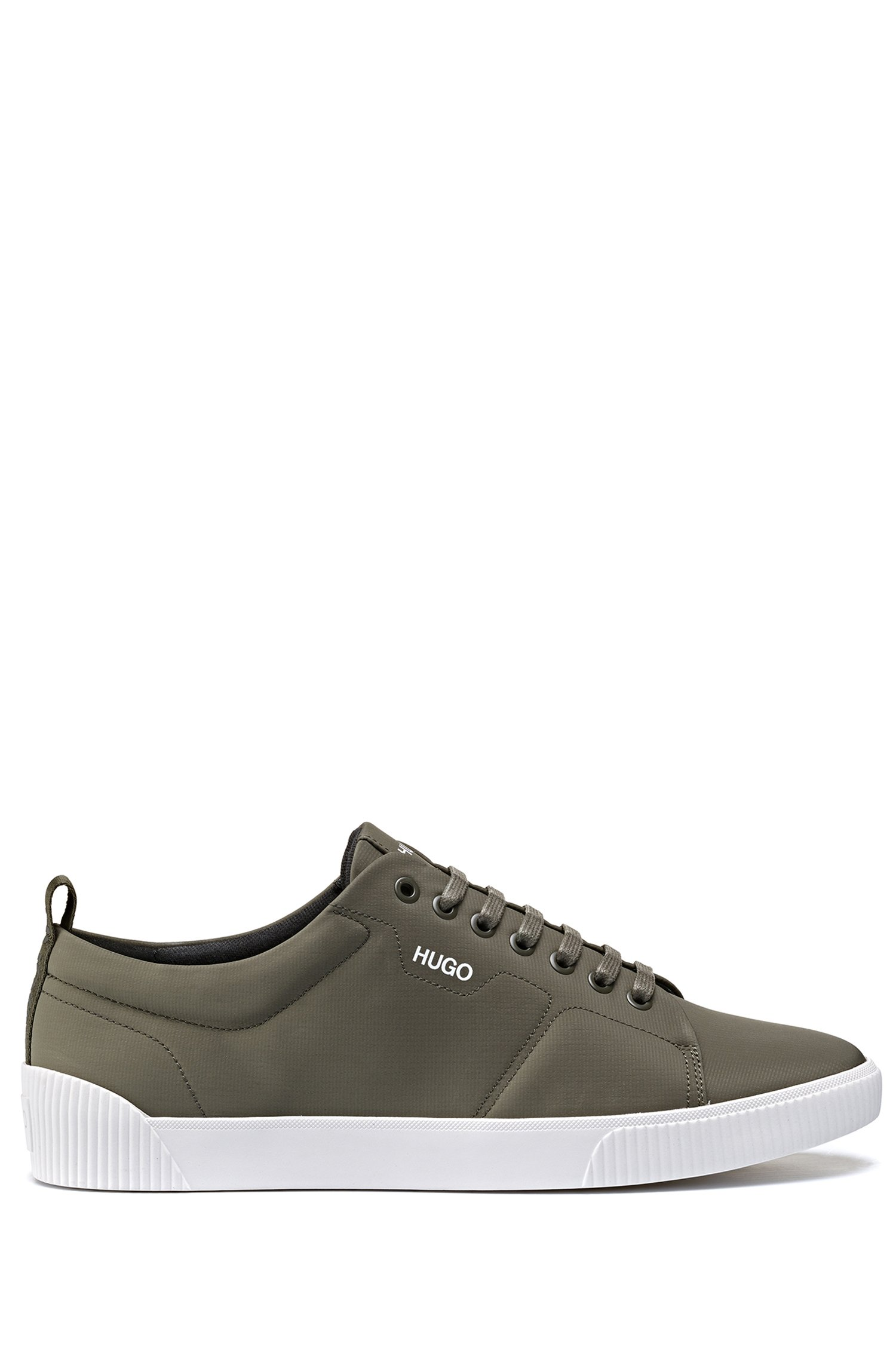 Padded nylon trainers with contrast logo, Dark Green