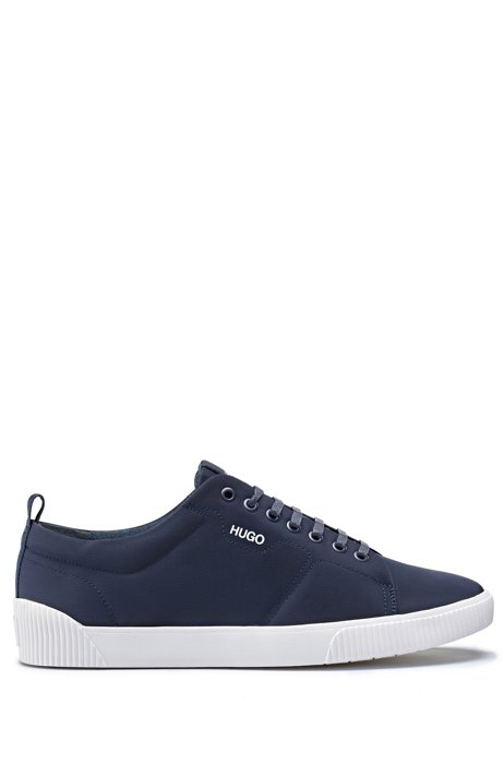 Padded nylon trainers with contrast logo, Dark Blue