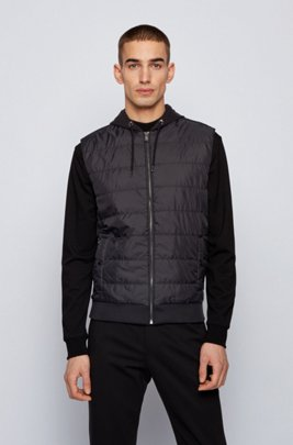 Hooded gilet with quilted-nylon front panel, Black