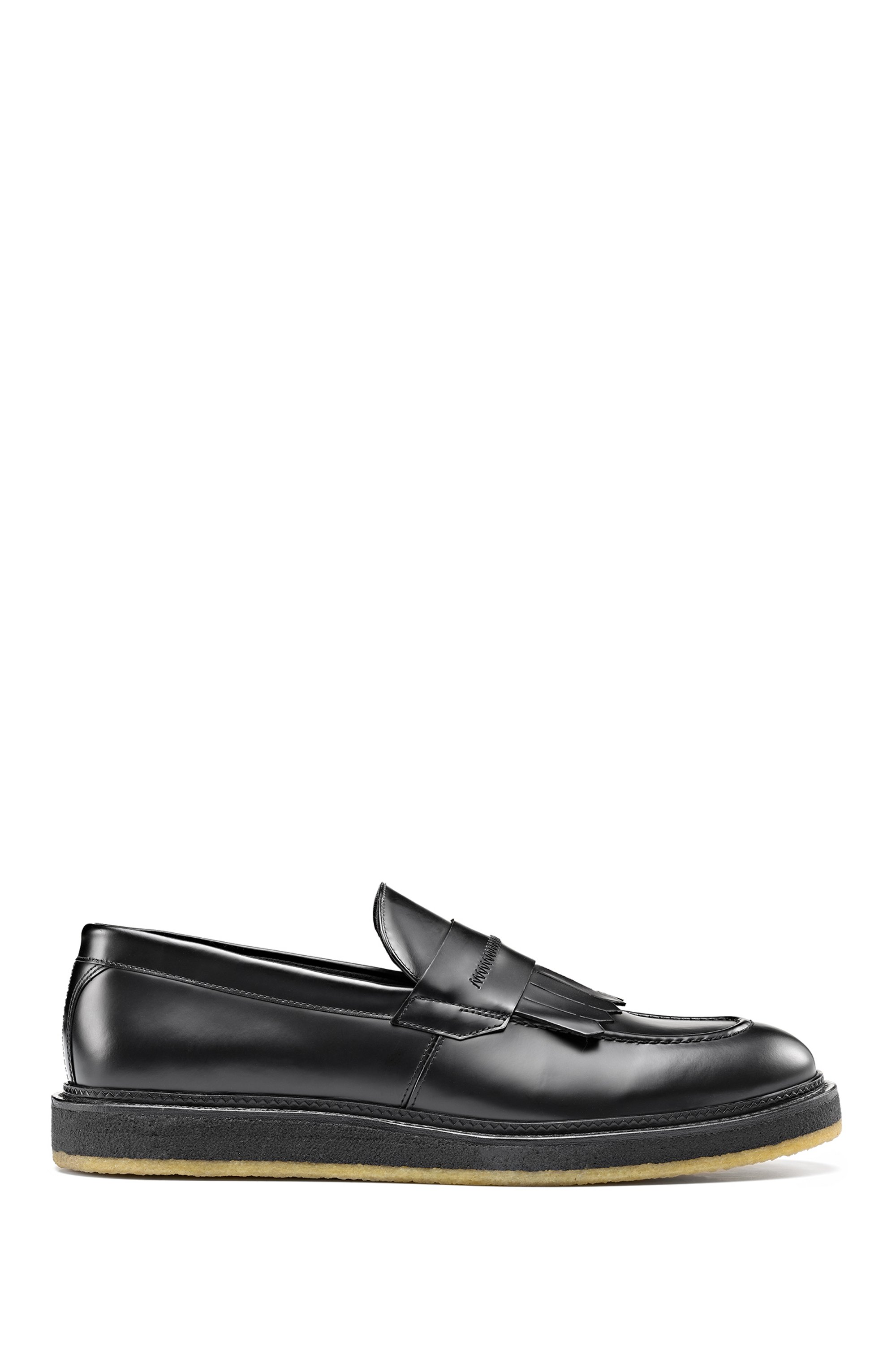 Loafers in polido leather with fringed trim, Black