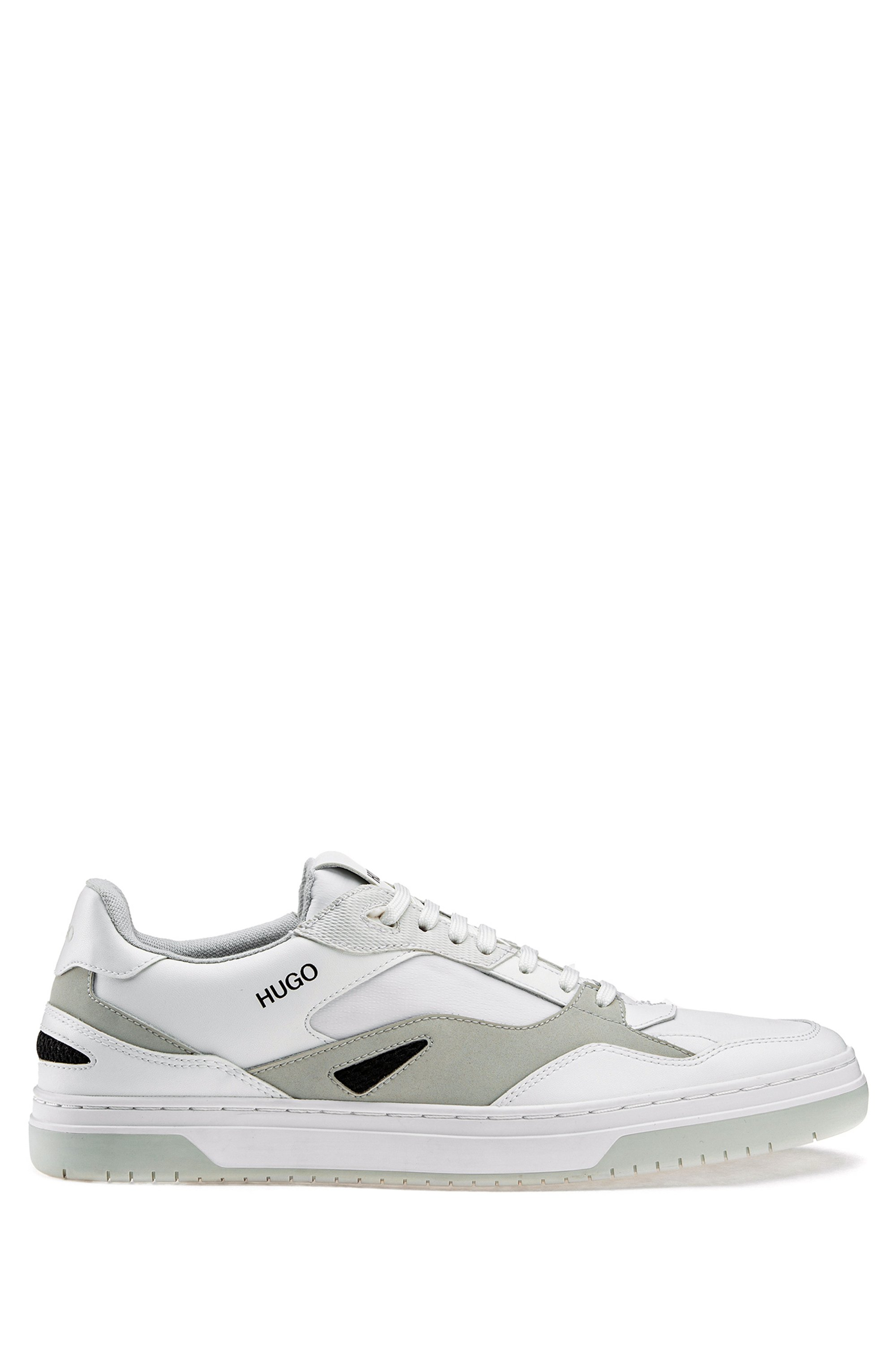 Low-top trainers with bonded-leather details, White