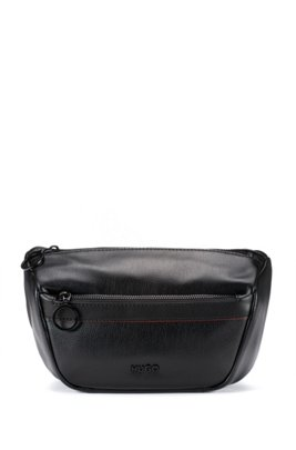 Grained faux-leather belt bag with logo lettering, Black