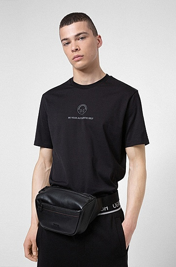 徽标字母粒面人造革腰包,  001_Black