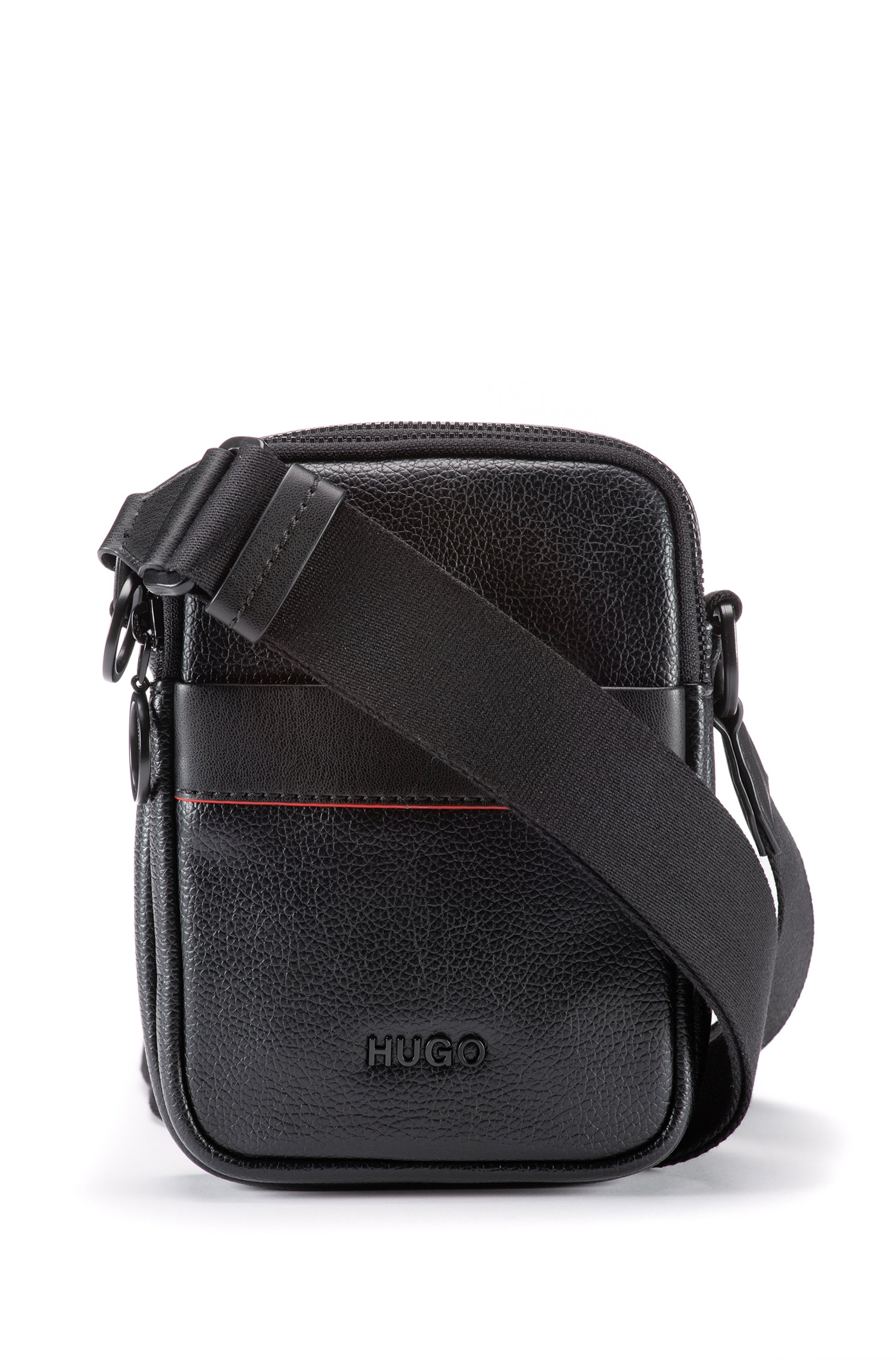 Reporter bag in grained faux leather with logo lettering, Black