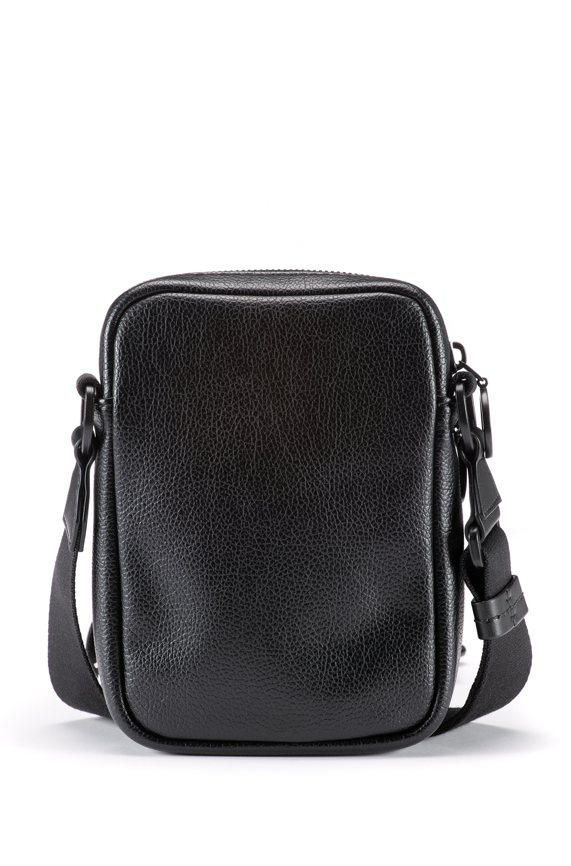 Reporter bag in grained faux leather with logo lettering