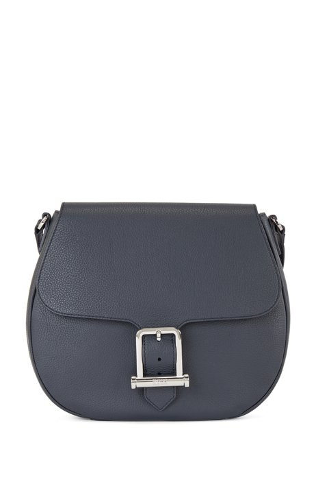 Cross-body saddle bag in grained leather, Dark Blue