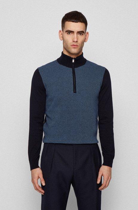 Maglione in cotone e lana vergine con colletto con zip, Celeste
