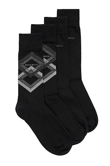 棉质混纺中长袜两双装,  001_黑色