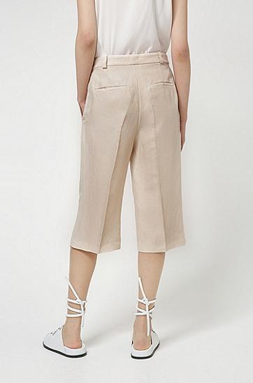 亚麻混纺喇叭裤腿设计宽松版短裤,  104_Natural
