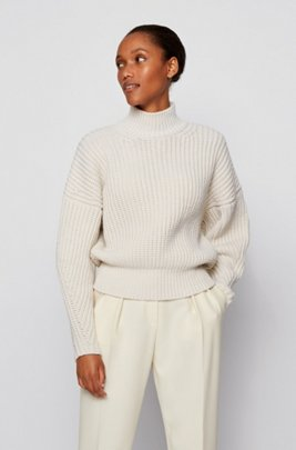 Ribbed-structure sweater in virgin wool with cashmere, White