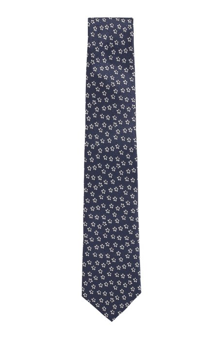 Jacquard-patterned tie in water-repellent silk, Dark Blue