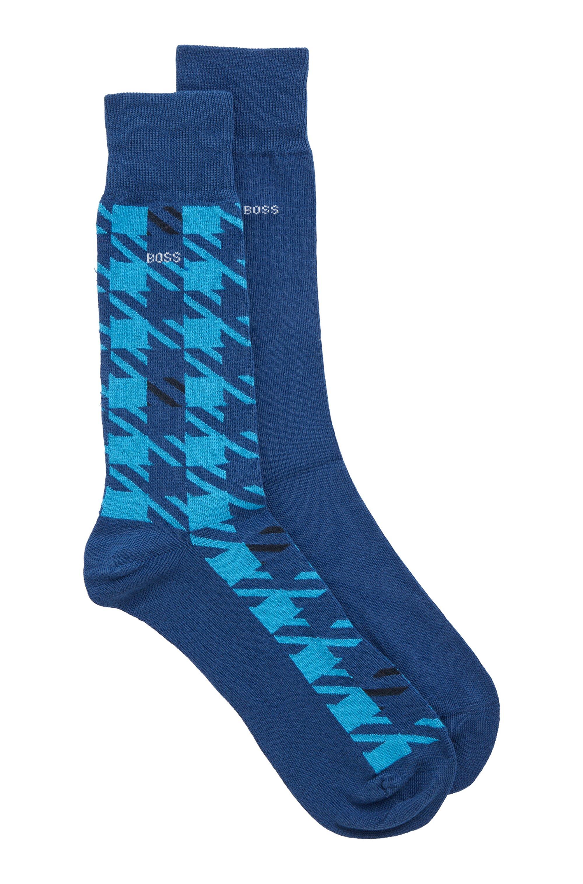 Lot de deux paires de chaussettes en coton mélangé peigné, bleu clair