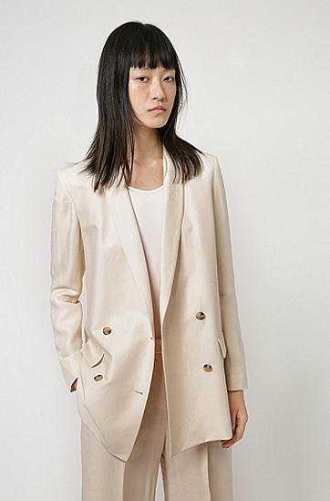 亚麻混纺宽松版型长款夹克,  104_Natural