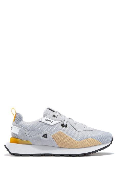 Sneakers in retrostijl met suède en mesh, Lichtgrijs