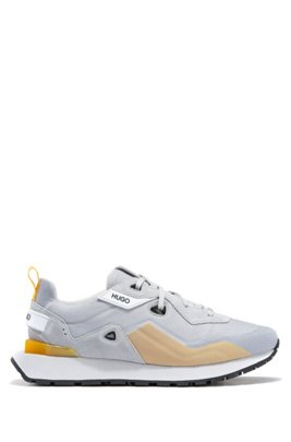 Retro-style trainers with suede and mesh, Light Grey