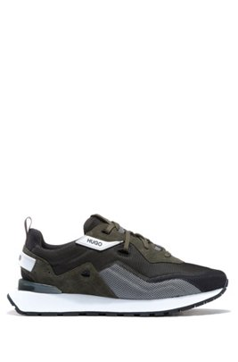 Retro-style trainers with suede and mesh, Light Green