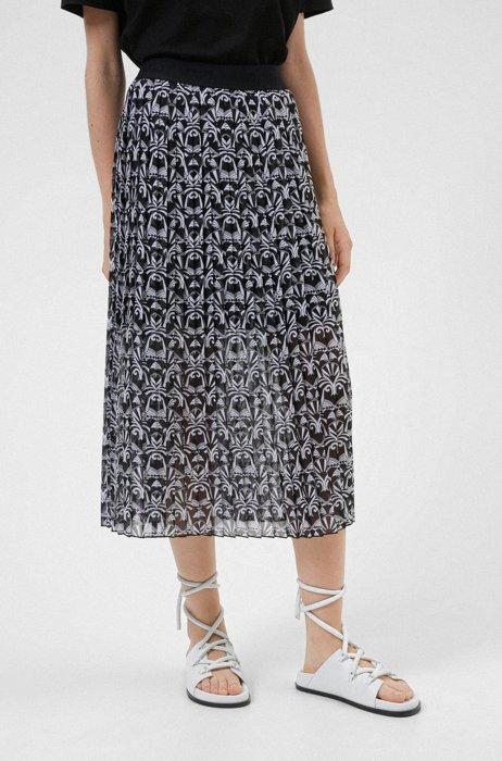 Falda midi plisada en tejido reciclado con estampado de oso, Fantasía
