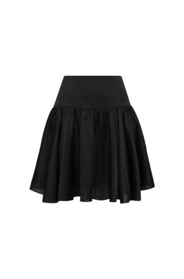High-waisted mini skirt in lustrous fabric, Black