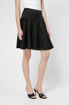 High-waisted mini skirt in lustrous fabric, Black