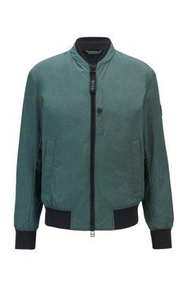 Wasserabweisende Jacke mit Logo-Statements, Dunkelgrün