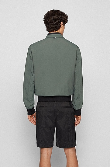 徽标特色防水夹克,  301_Dark Green