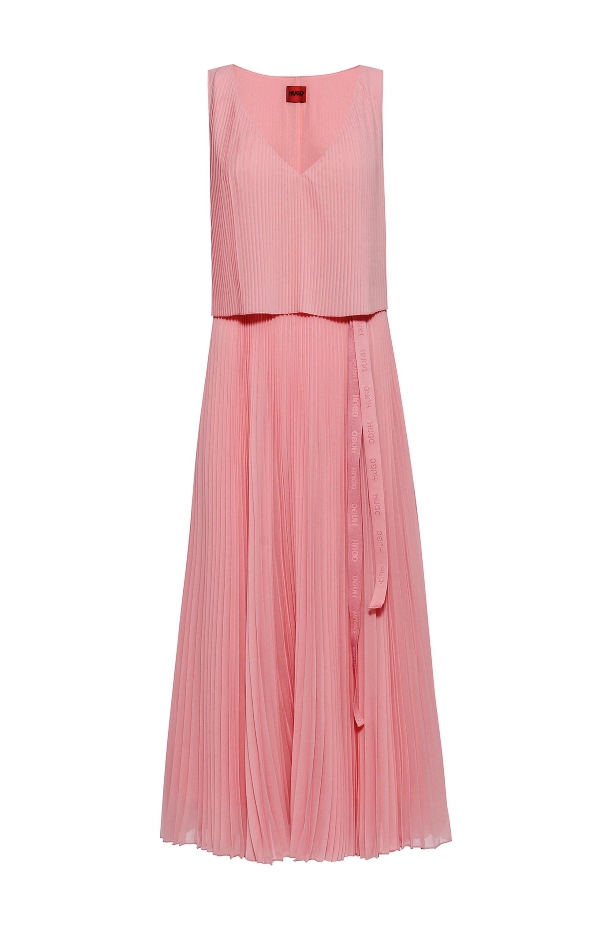 Gelaagde plisséjurk met logoriem, Pink