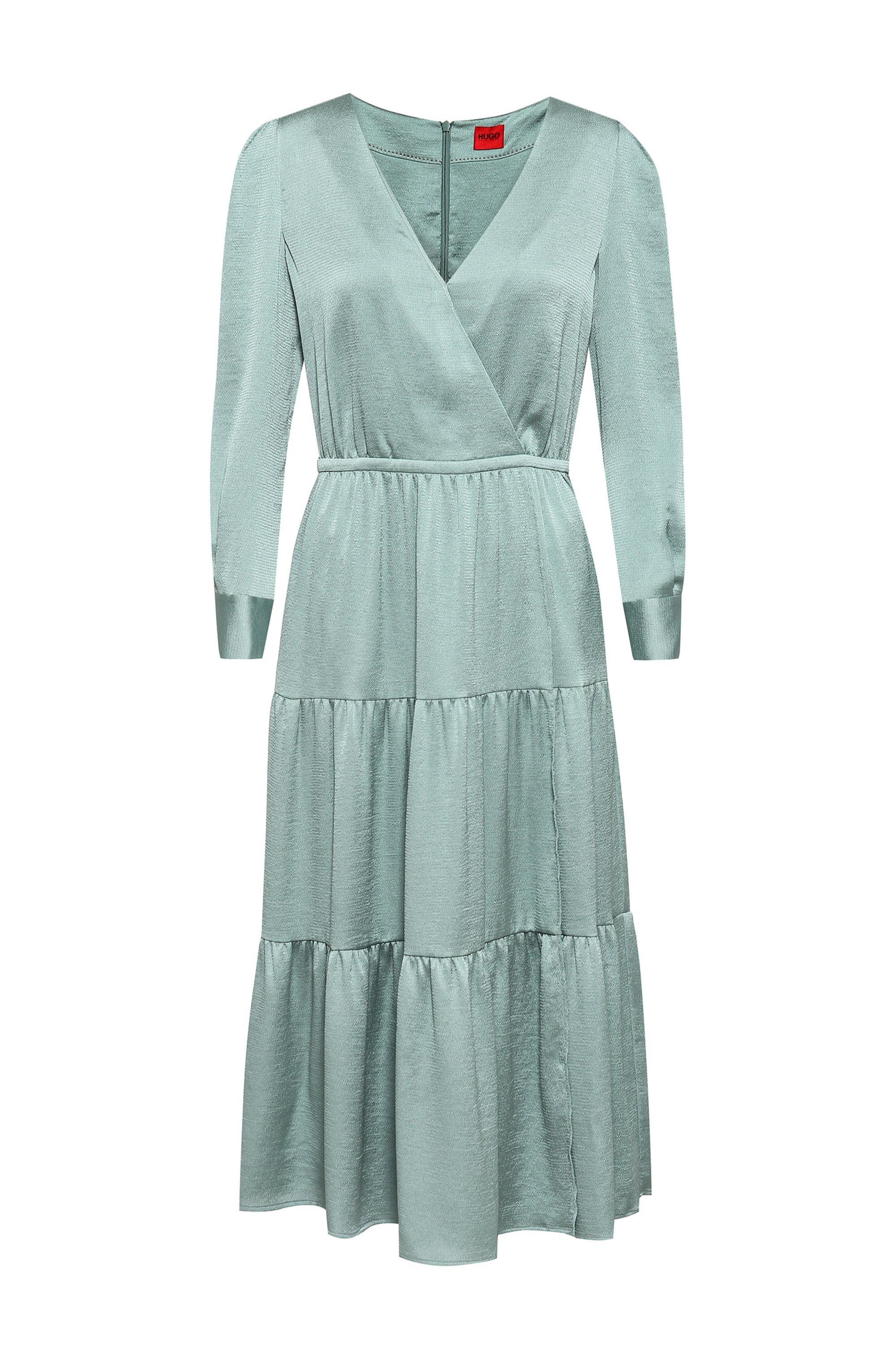 Long-sleeved midi dress with tiered skirt, Light Green