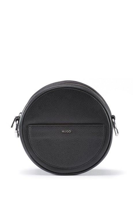Crossbody bag in grained leather with signature hardware, Black