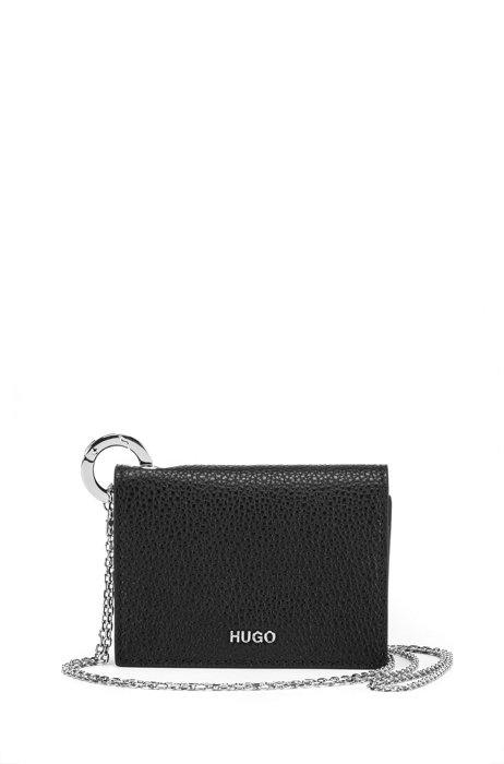 Card holder in leather with detachable chain strap, Black