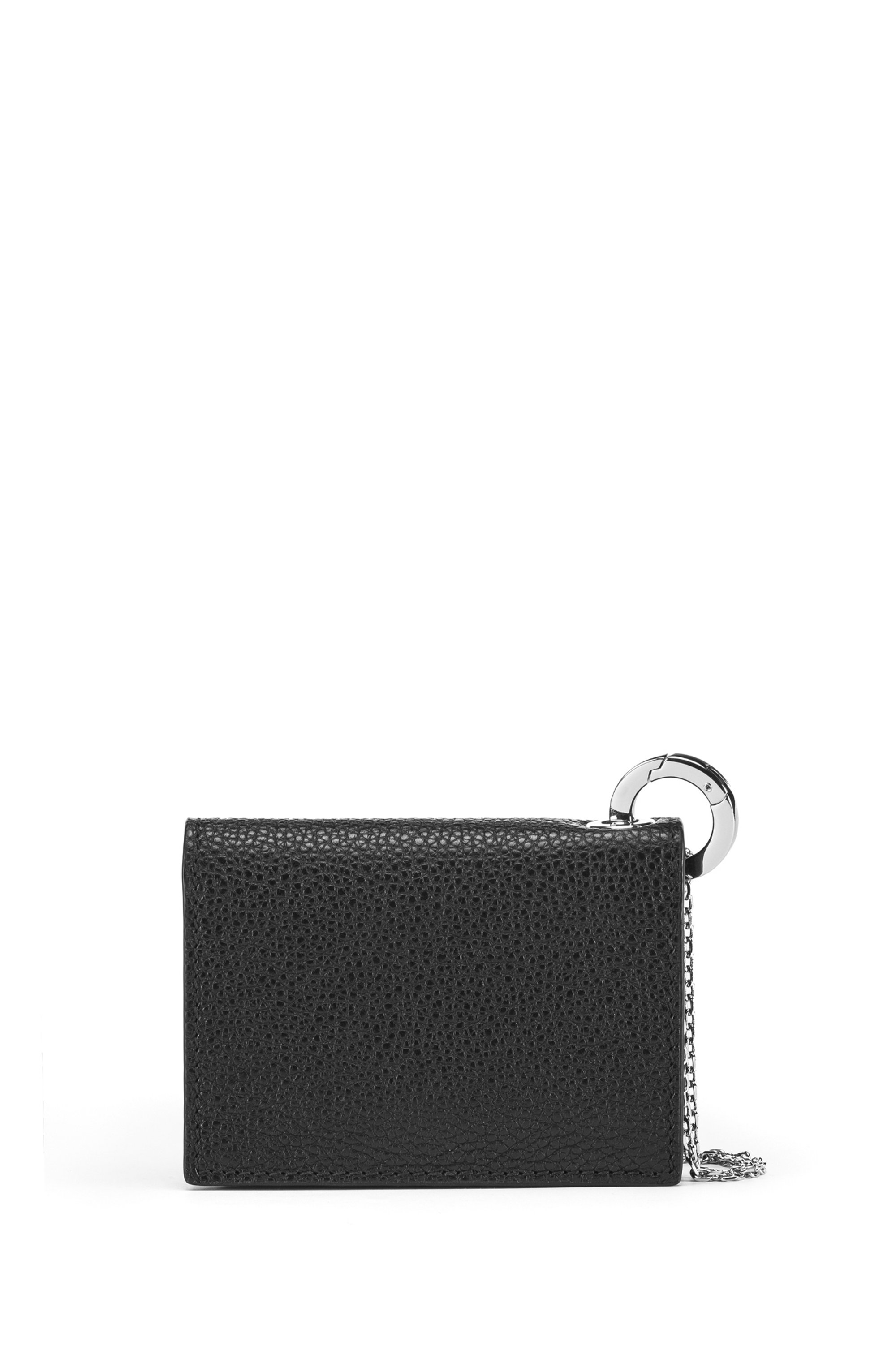Card holder in leather with detachable chain strap