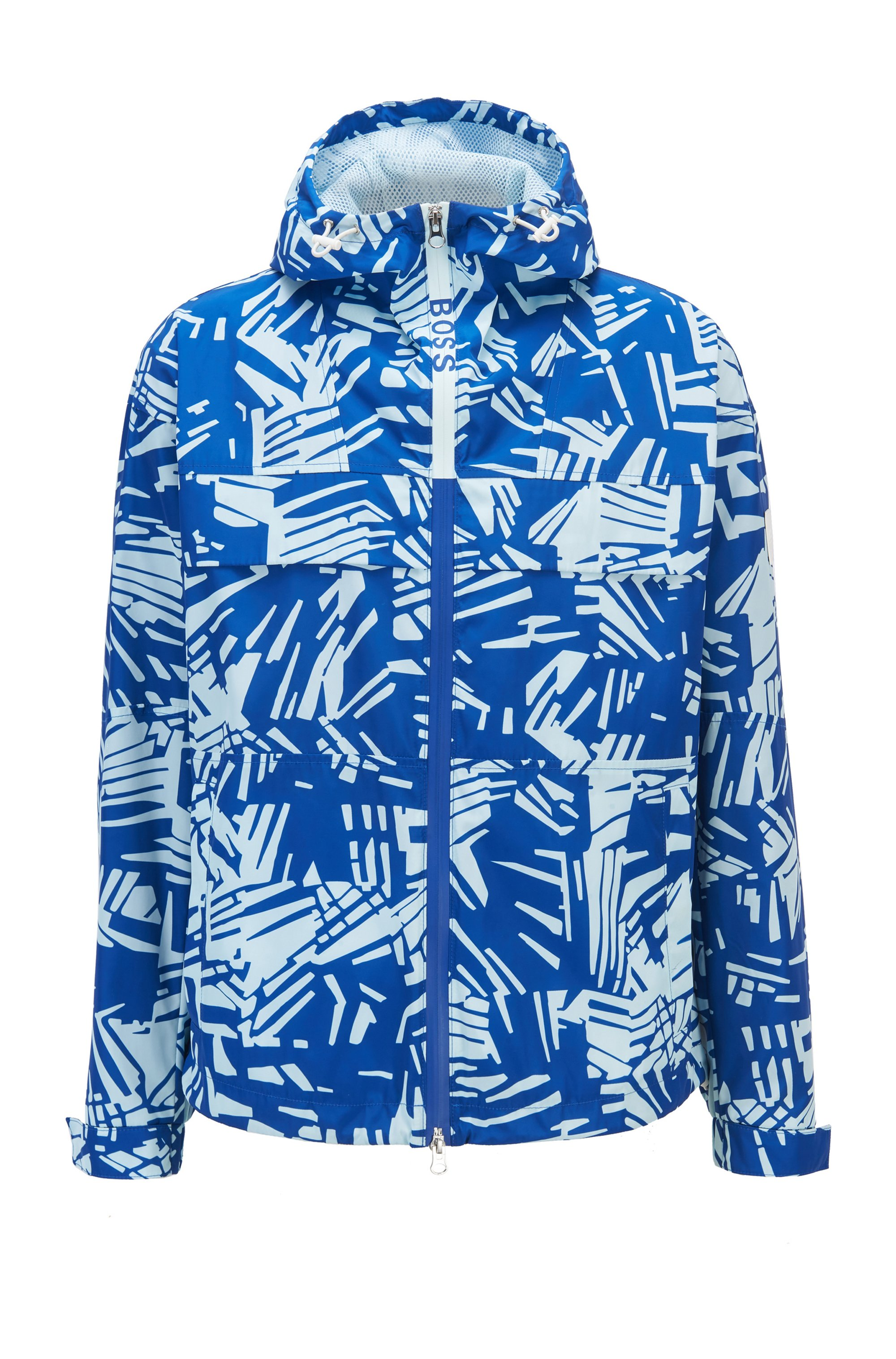 Regular-fit water-repellent jacket with statement print, Blue Patterned