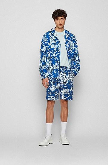 特色图案印花常规版型防水夹克,  428_Medium Blue
