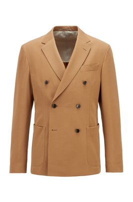 Virgin-wool slim-fit jacket with double-breasted closure, Beige